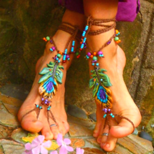 These Are My Kind Of Shoes!!! I hate shoes but love these...Beach Feet: Shoes, Peacock Feathers, Barefoot Sandals, Ponies Beads, Summer Feet, Anklet, Boho, Bohemian Style, Feet Jewelry
