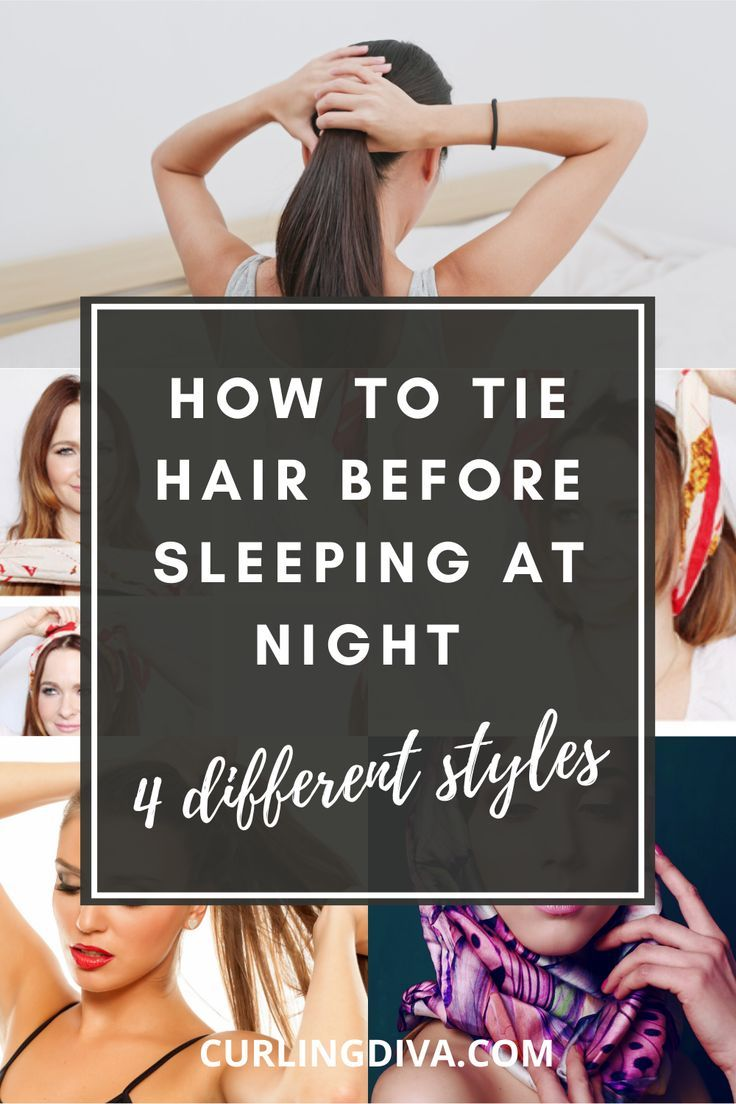 How To Tie Hair While Sleeping At Night In 4 Different Styles In 2020 Sleep Hairstyles Sleeping With Wet Hair Wet Hair Overnight