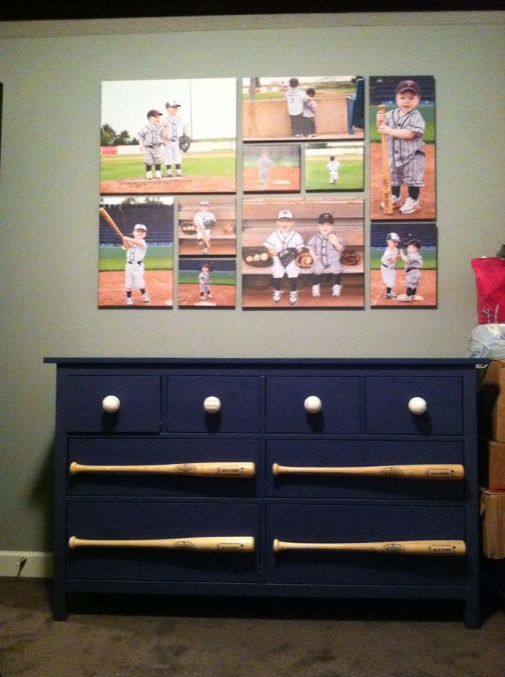 IKEA dresser with real practice baseballs as knobs and wooden bats.