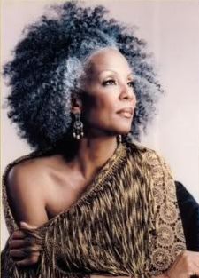 Gray natural that rocks! Older woman with fabulous grey natural afro hair.