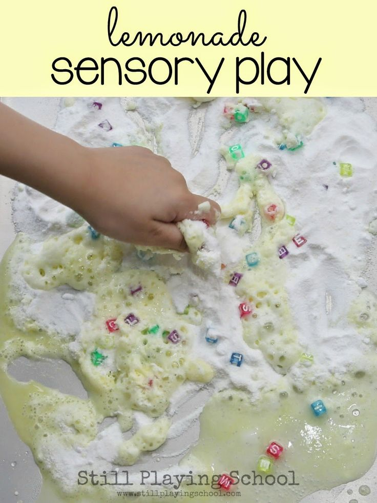 Fizzy Lemonade Sensory Play Recipe from Still Playing School No vinegar smell but you can still get the ingredients at any grocery store!