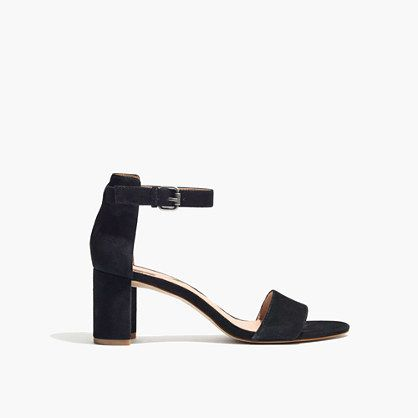 Madewell The Lainy Sandal in Suede-  Some sort of simple, single strap black heel 2- 3 inch heels for occasions.