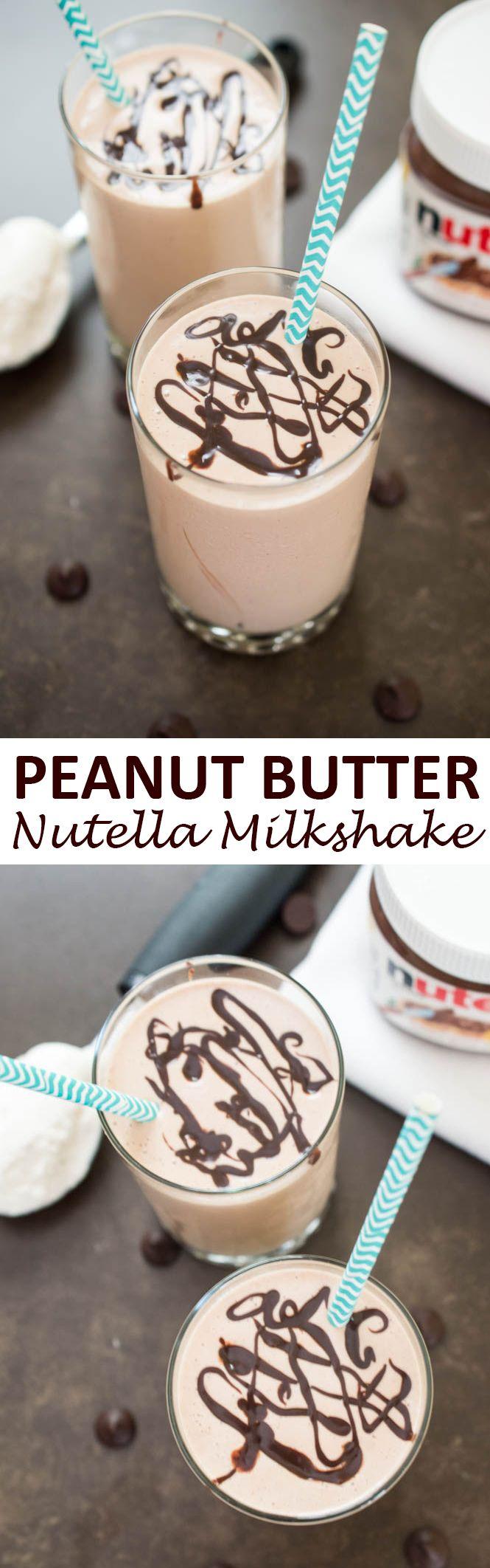 4 ingredient Creamy Peanut Butter & Nutella Milkshake. Takes less than 5 minutes to make!   chefsavvy.com #recipe #milkshake #dessert #chocolate