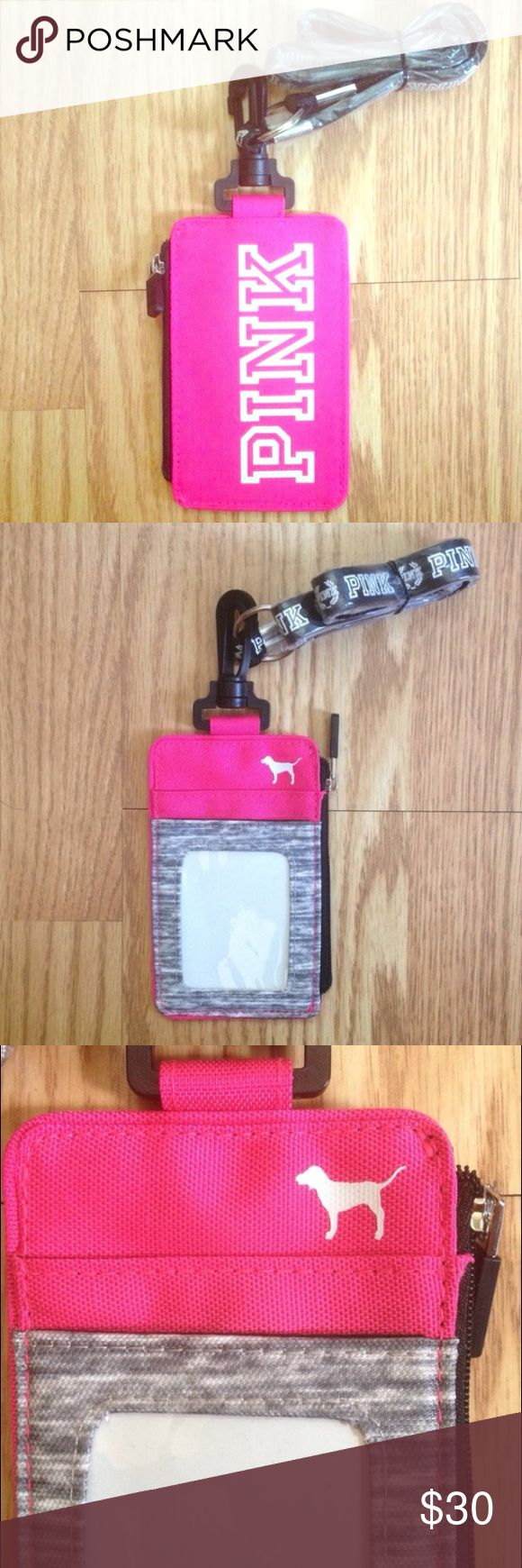 PINK Victoria's Secret Lanyard ID Holder Brand new in packaging. Outer pockets for ID's and cards. Zippered pocket for money and keys. Perfect for the dorm life! I ship same day or next day! PINK Victoria's Secret Accessories