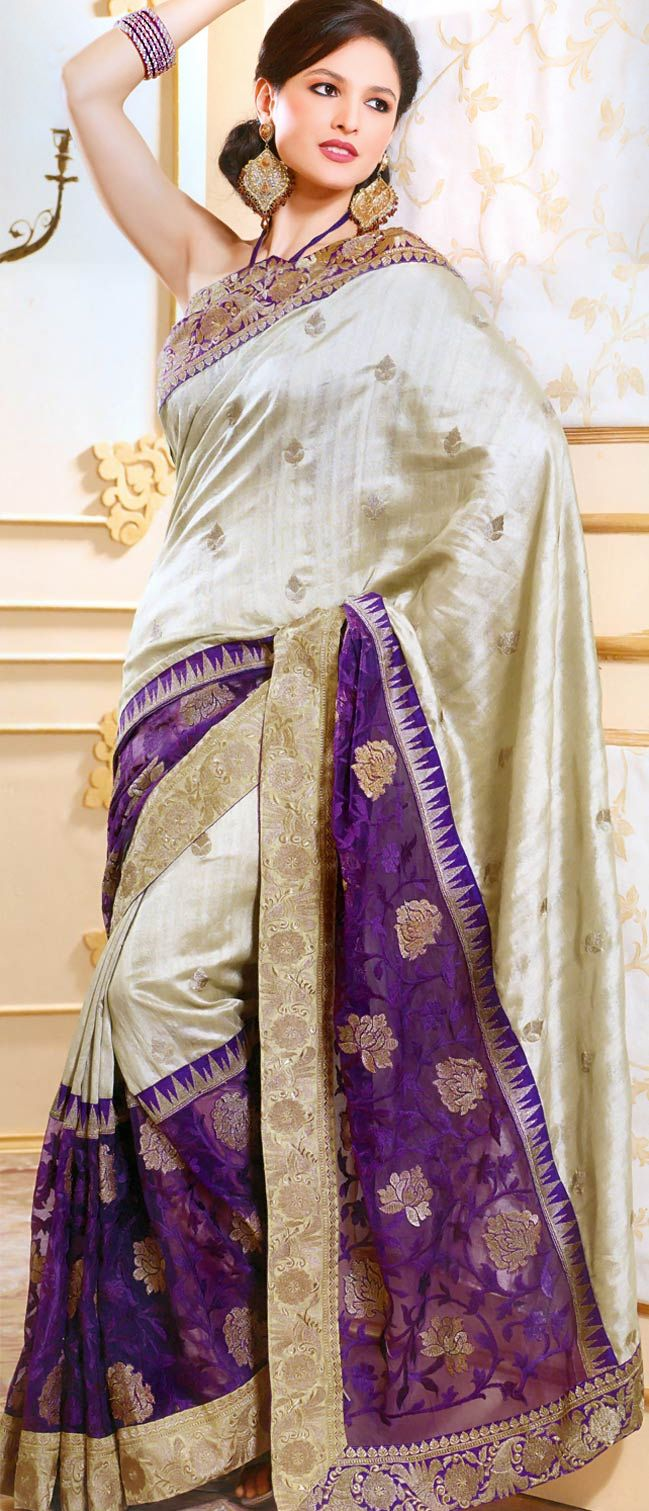 Beige and #Purple #Art Tussar #Silk #Saree with Blouse