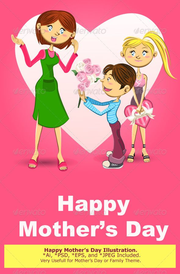 Happy Mother's Day Illustration  #GraphicRiver         Illustration of Teenage Girl Holding a Gift and Little Boy Giving a Bucket of Flowers to Their Mother, Celebrating Mothers Day.   Main File is Vector Ai. Easy to Use and Custom. Also Available in another format. PSD (Vector Smart Object), Eps.8 and High Ress Jpeg.                     Created: 28 November 13                    Graphics Files Included:   Photoshop PSD #JPG Image #Vector EPS #AI Illustrator                   Layered:   Yes…