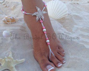 Sandalias Descalzas coral sandalia descalzos de estrellas de mar, novia sandalias Descalzas, joyería nupcial, sandalia sin pies