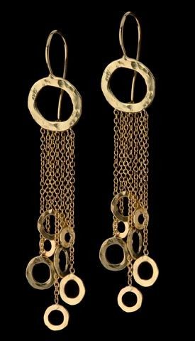 vvv Gold Dangle Earrings Delicate Mobile Earrings by GoldArtJewelry