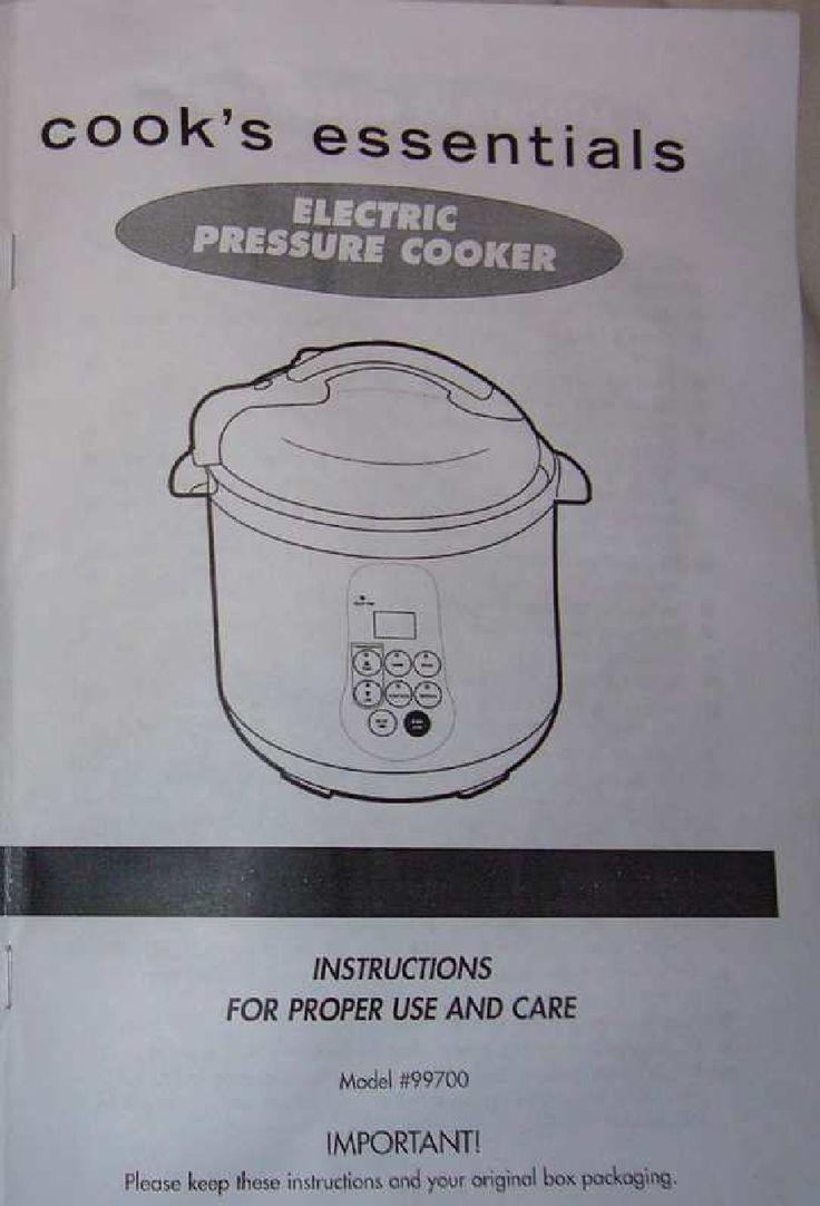 Cooks Essentials 99700 Pressure Cooker Manual