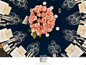 Love the navy table cloth. Would definitely ditch the flower centerpiece though.