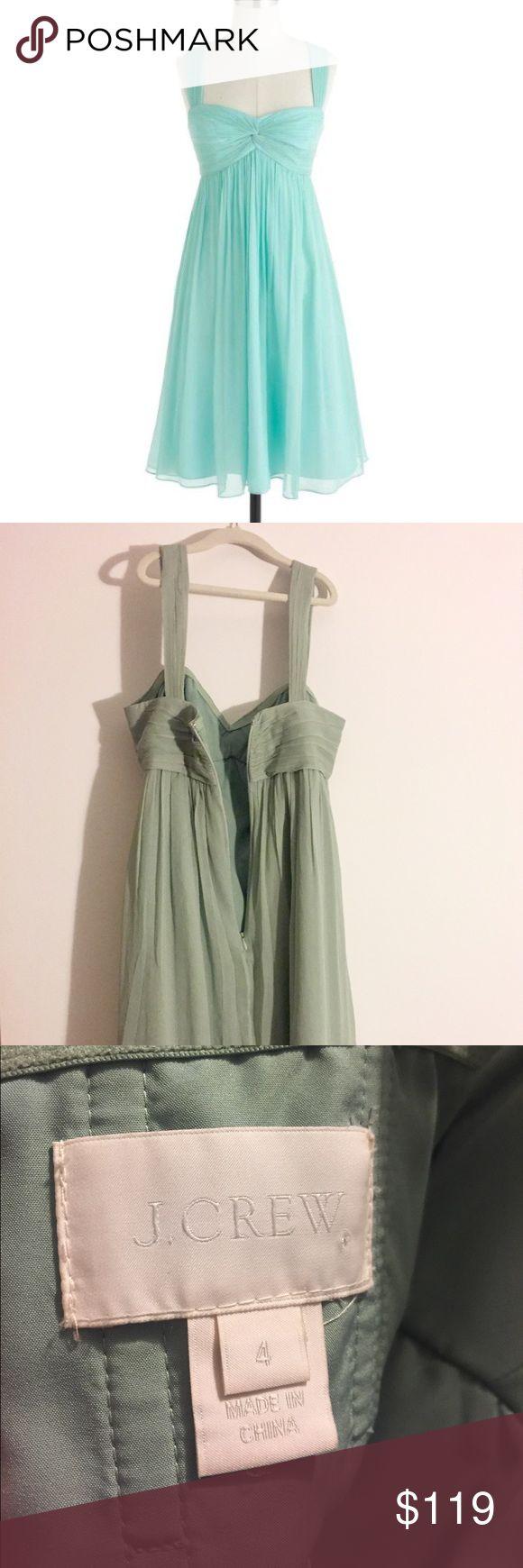 J. Crew seafoam green silk dress. Size 4. Mint condition. Hue is green/blue. J. Crew Dresses