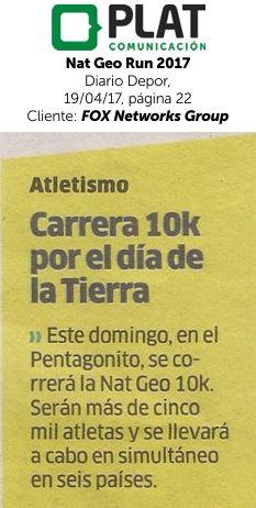 FOX Networks Group: Nat Geo Run 2017 en el diario Depor de Perú (19/04/17)