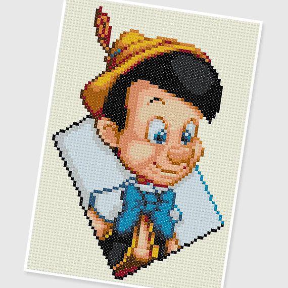 PDF Cross Stitch pattern 0252.Pinocchio INSTANT door PIXcross