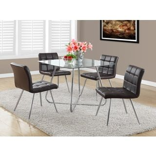 Shop For Brown Faux Leather Chrome Metal Dining Chair Set Of 2 Get ChairsDining SetDining RoomFurniture OutletOnline