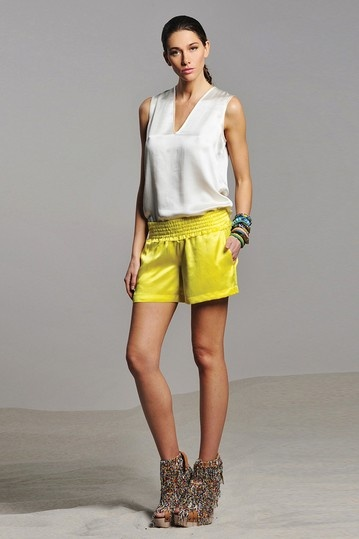 ALEXIS Logan Neon Yellow Short and White Silk Blouse