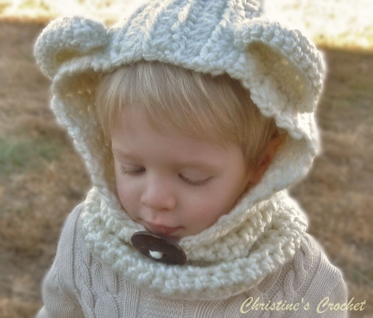 Crochet Baby Bear Cowl Pattern : Crochet Hooded Bear Cowl Crochet Baby Hats Pinterest ...