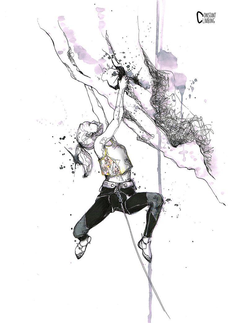 LOZEN GIRL PRINT, dessin femme escalade falaise, draw climbing