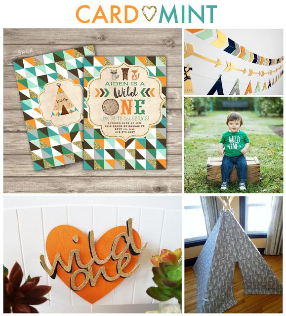 Wild One First Birthday Boy Theme Ideas Invitations Cardmint Fox Woodland Teepee Decor Banner Cake Topper Cupcake toppers