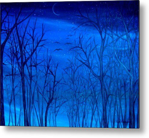 Metal Print, Painting, forest,scene,forestscape,nature,night,sky,nightscape,winter,bare,trees,moon,moonlight,peaceful,tranquil,serene,cold,dark,blue,monochromatic,impressive,cool,beautiful,contemporary,cool,unique,fine,oil,wall,art,images,artworks,home,office,decor,artwork,modern,items,ideas,for sale,fine art america,winter sky