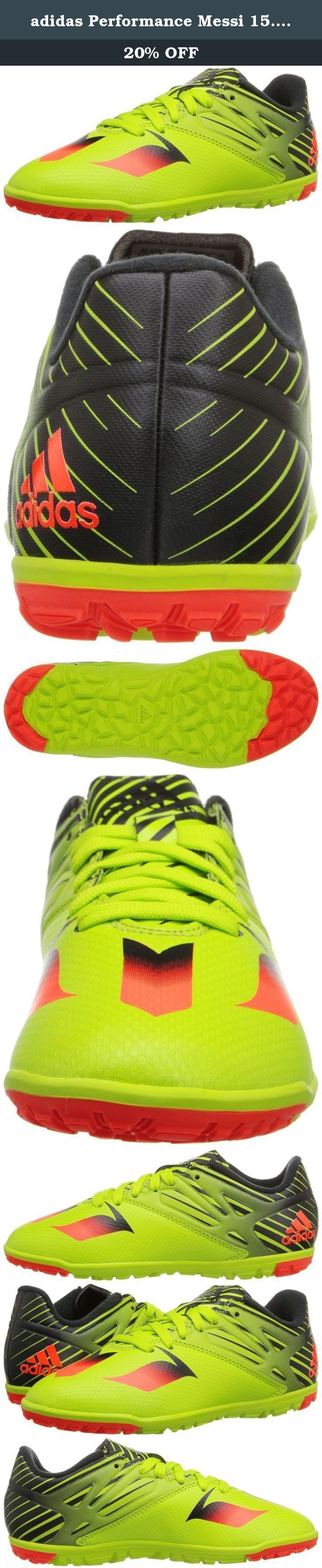 adidas Performance Messi 15.3 TF J Soccer Shoe (Little Kid/Big Kid), Semi Solar Slime/Solar Red/Black, 4 M US Big Kid. Kids Soccer Shoe.