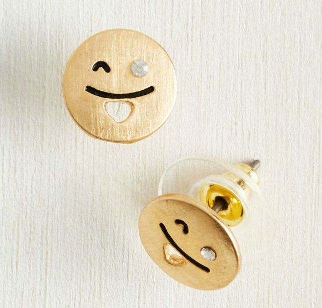 If you want to be a little more subtle in your World Emoji Day celebrations, check out these fine golden earrings.