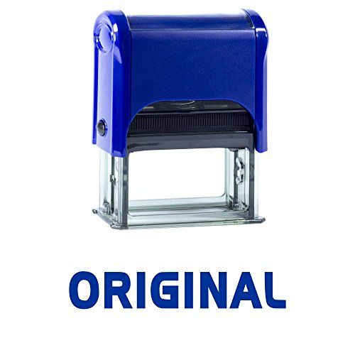 ORIGINAL Self Inking Rubber Stamp (Blue Ink) - Large