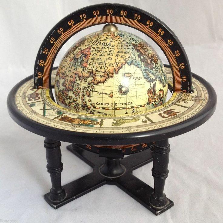 Vintage Old World Miniature Desk Globe Zodiac Symbols Horoscope Calendar Metal