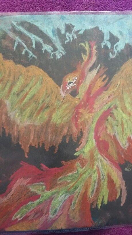 Finished my pheonix chalk drawing