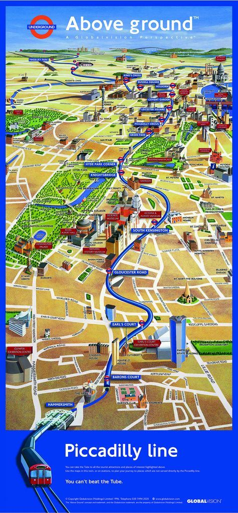 Piccadilly Line Above Ground Map: