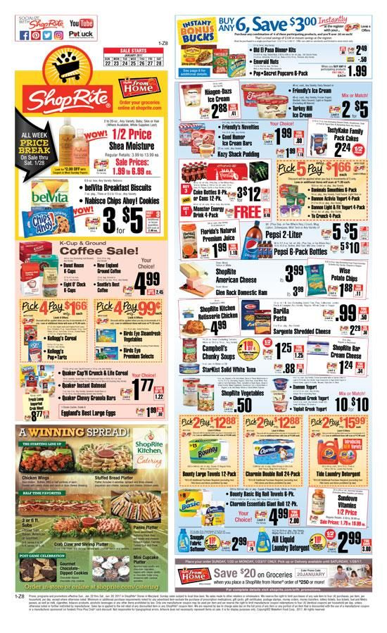 Current Shoprite weekly circular and sales ad. This week Shoprite circular, specials, weekly ads, flyer and online grocery ad. ShopRite locations: Connecticut, Delaware, Maryland, New Jersey, New York and Pennsylvania.