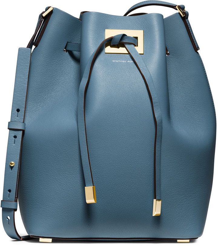 Michael Kors Miranda Large Drawstring Bucket Bag, Cornflower on shopstyle.com