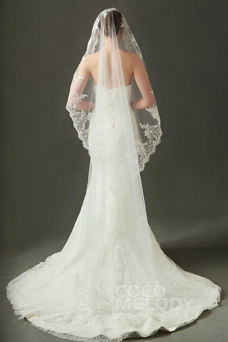 Charmanter Einstufiger Spitzenrand Tüll Elfenbein 200*146cm Walzer-Schleier mit Applikation AV160026 #weddingessentials #weddingaccessories #cocomelody#weddingveils