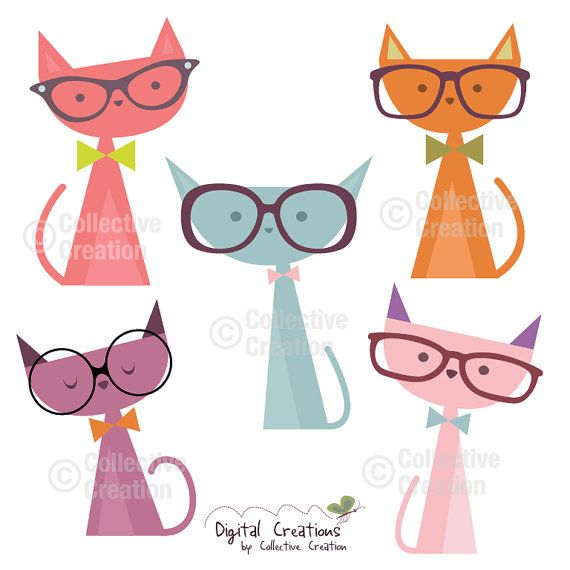 Cats wearing Glasses Digital Clip Art by CollectiveCreation