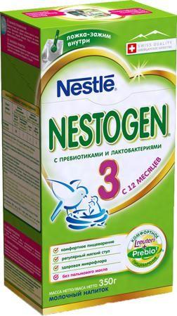 Nestogen (Nestlé) 3 (с 12 месяцев) 350 г  — 267р. -------------- Молочный напиток Nestogen 3 с 12 мес. 350 г. Молочко Nestogen 3 содержит натуральные пищевые волокна Prebio (пребиотики ГОС/ФОС), которые помогают пищеварению и способствуют формированию регулярного стула. Лактобактерии L.reuteri, входящие в состав молочка, помогают наладить комфортное пищеварение и способствуют становлению здоровой микрофлоры. Молочко Nestogen 3 - сбалансированный продукт, заменяющий коровье молоко в рационе…