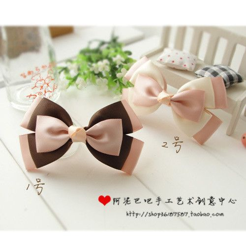 Pink, Brown & White Bow tie - Moños rosa, café y blanco