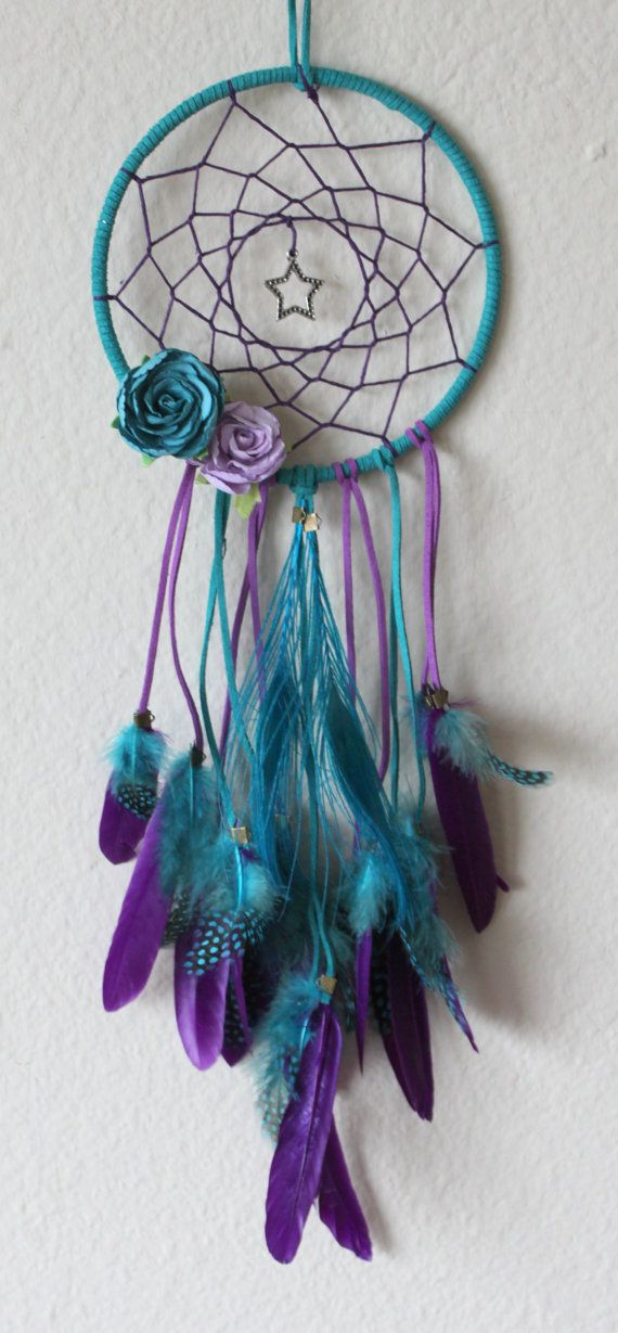 Plume de paon & Star de Aqua et Purple Dream Catcher avec