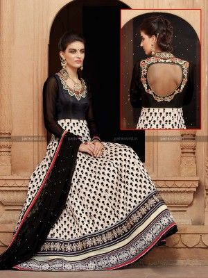 Black N Cream Banarasi Net Anarkali Salwar Suit