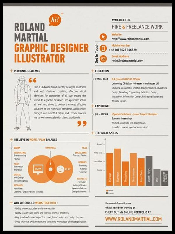 Resume Infographic Graphic Design I Like The Use Of Graph Here And Person Creative Personal Statement Designer