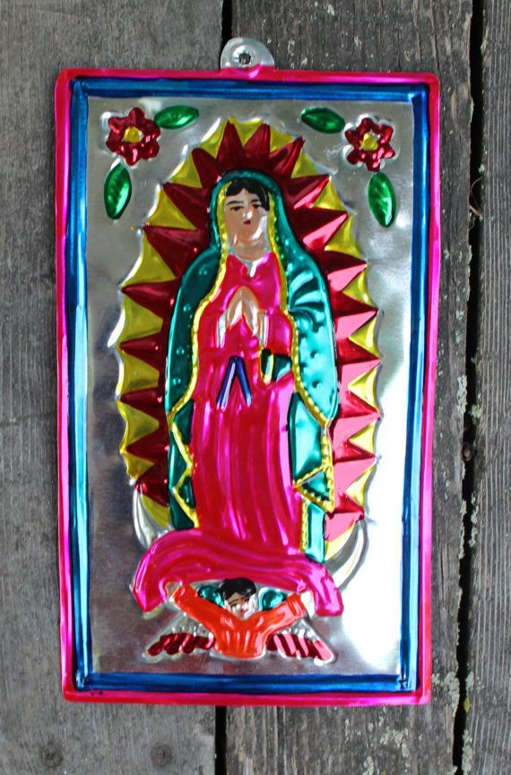 Lovely Mexican hand painted Tin Virgin of Guadalupe, Nuestra Señora de Guadalupe