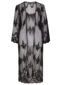 **Mela Black Long Lace Kimono