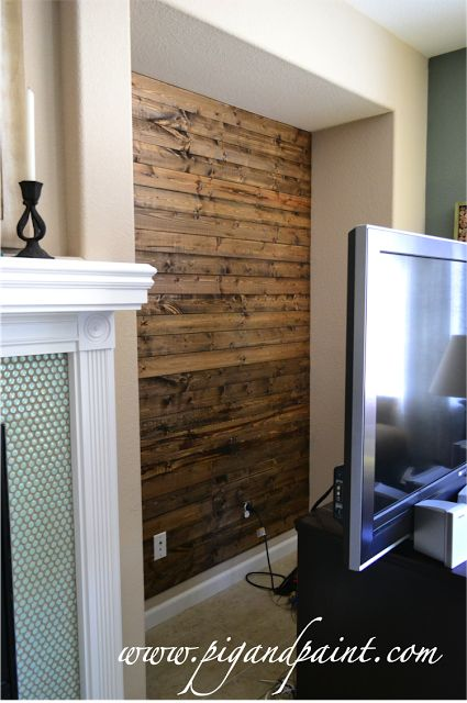Wood Plank Wall. Brilliant! Should do this to wall that runs from living room to kitchen. Solves paint dilemma.