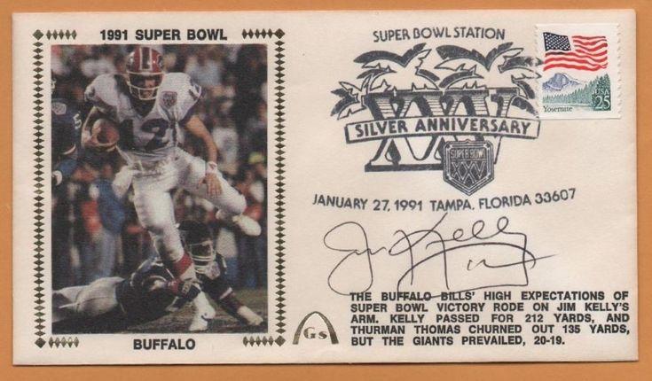 Jim Kelly BLEM Super Bowl XXV Signed Gateway Stamp Envelope - Buffalo Bills #BuffaloBills