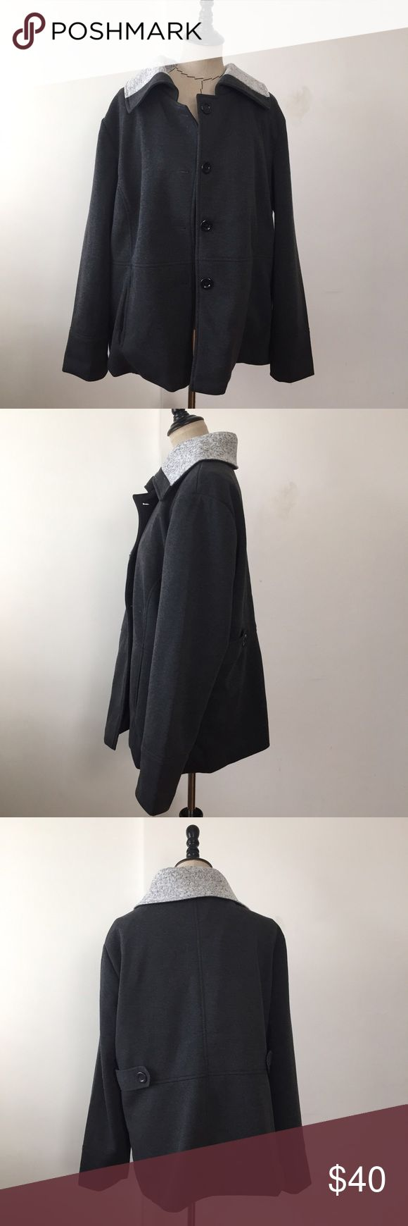 NWT charcoal grey plus size peacoat jacket Brand new with tags! Has two pockets. No buttons are missing. Comes with an extra button. 100% polyester. Jackets & Coats Pea Coats