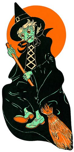 witch on broom old die cut vintage halloween decoration - Antique Halloween Decorations