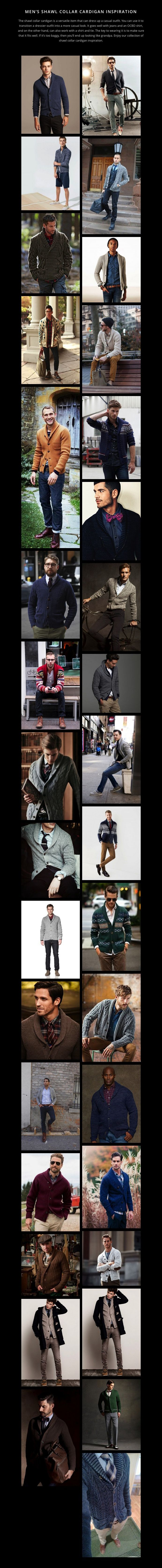MEN'S SHAWL COLLAR CARDIGAN INSPIRATION