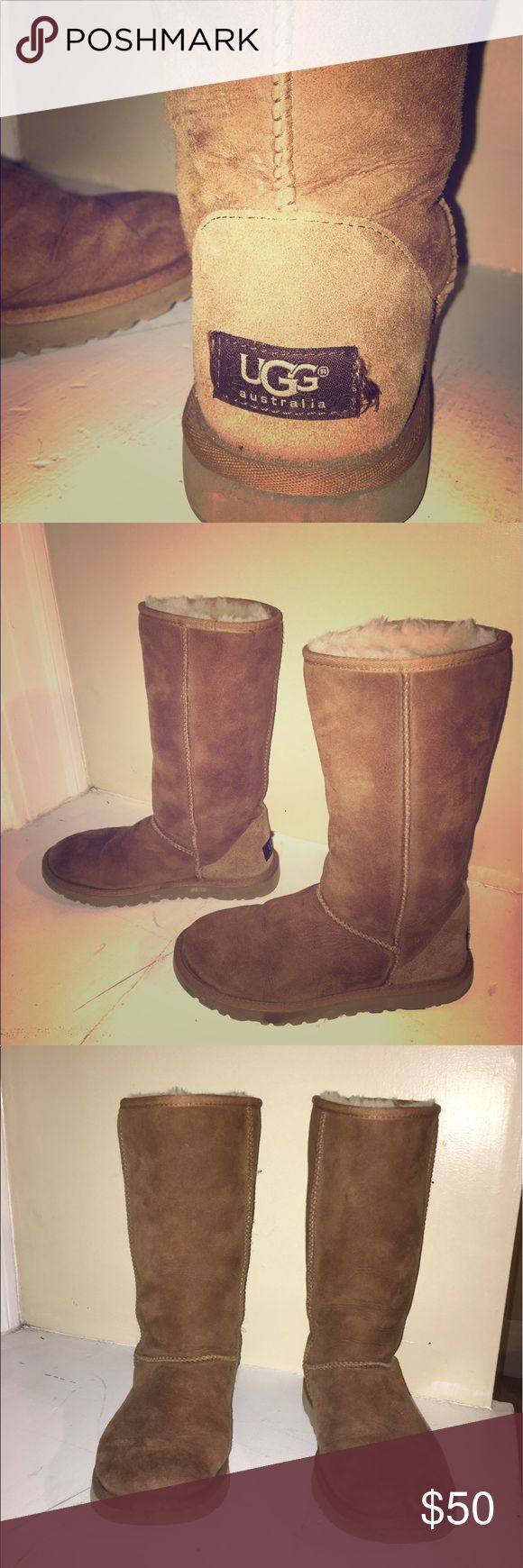 UGG BOOTS! Classic tall chestnut ugg boots for sale! Barely worn and already water-resistant treated! Price is negotiable. UGG Shoes Winter & Rain Boots