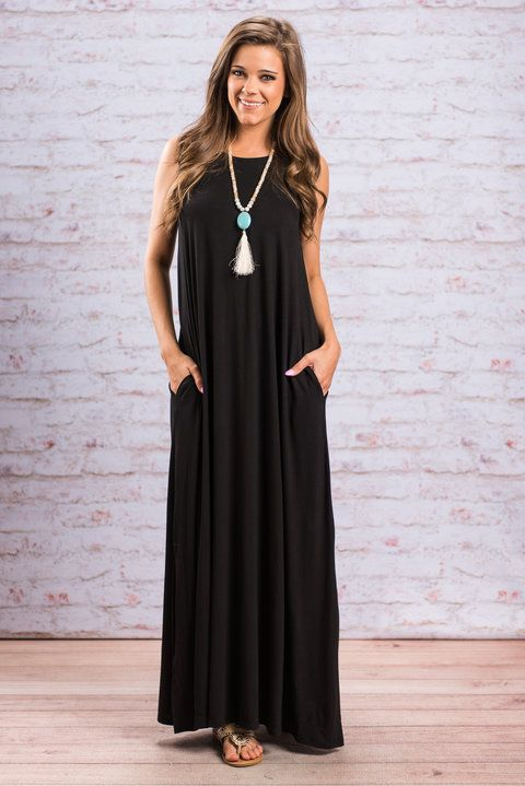 """""""Love Simply Maxi Dress, Black""""This simple maxi dress is so easy to love! It's actually impossible to not love! #newarrivals #shopthemint"""
