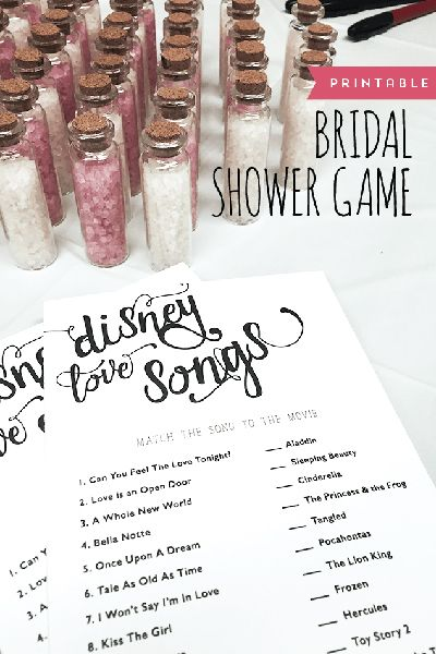 "If you're a Disney fanatic, then this game created by Designs by Miss Mandee is a must-have at your bridal shower. Guests have to match up the love songs from iconic films like Aladdin and The Lion King; just don't blame us if they start belting out ""A Whole New World.""Download the free printable here ►Related: Disney-Inspired Real Weddings"