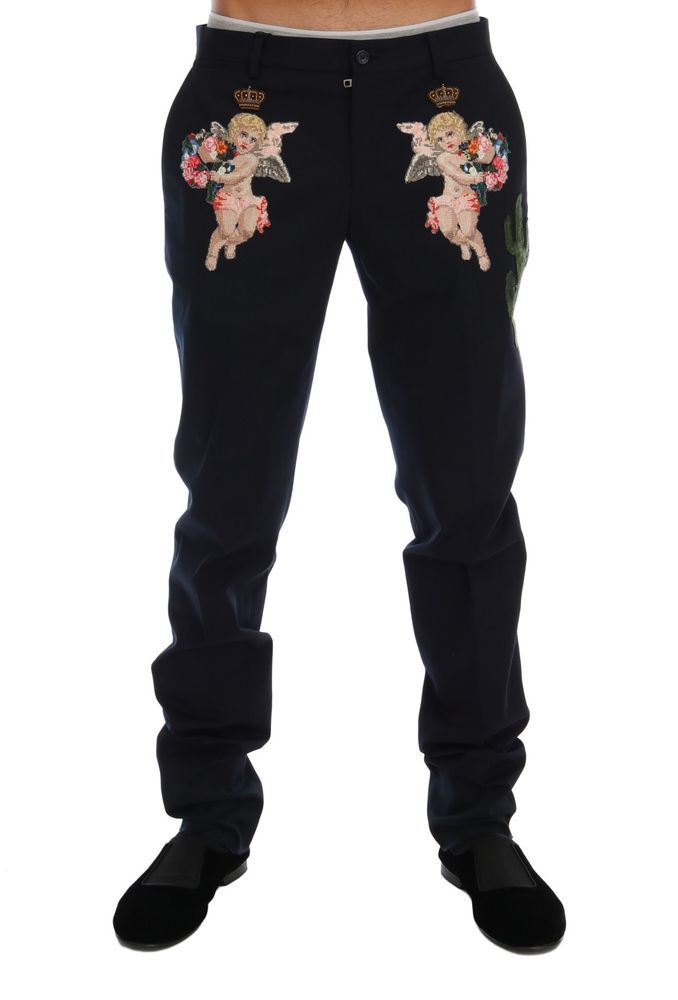 DOLCE /& GABBANA Pants Black Wool SICILIAN WESTERN Trousers IT56 W42 RRP $800