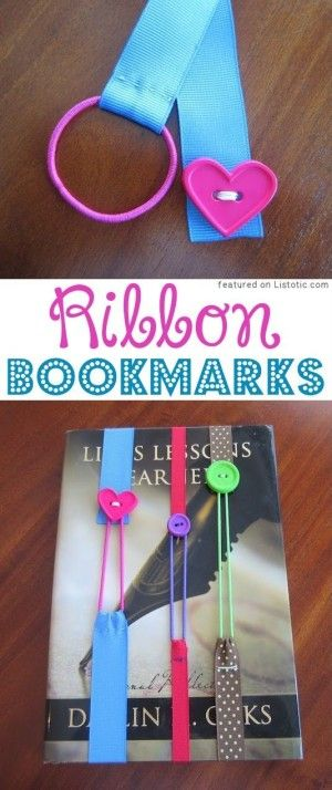 DIY Ribbon Bookmarks (ribbon, hairbands, and buttons!) -- 29 of the MOST creative crafts and activities for kids!